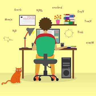 コンピューターでのオンライン教育学生の研究ウェブバナーのインフォグラフィックヒーロー画像に使用できます