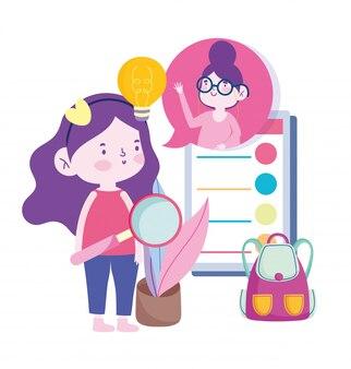 Онлайн-образование, учитель и ученица девушка смартфон рюкзак