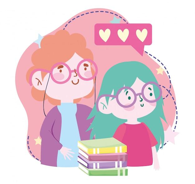 Онлайн-образование, учитель и ученица девушка с книгами