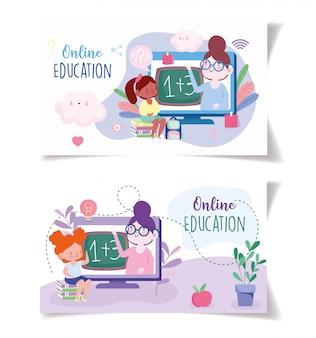 Интернет-обучение, учителя и ученики, рюкзак и книги, веб-сайт и мобильные учебные курсы