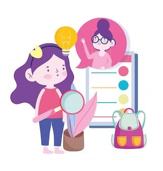 Online education, teacher and student girl smartphone backpack