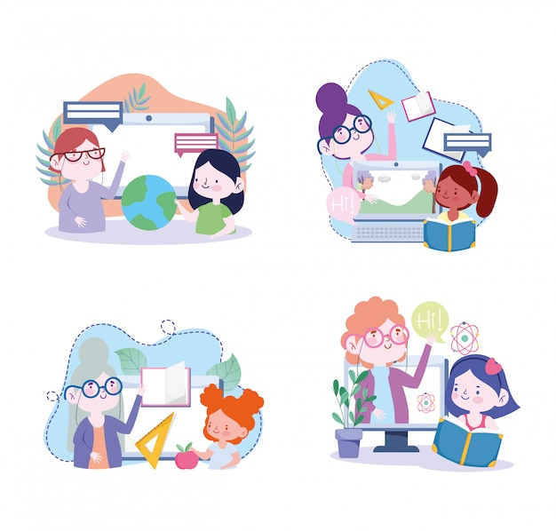 Online education, teacher and student girls computer world books learn, website and mobile training courses  illustration