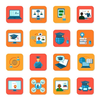 Online education teaching and graduation icons set isolated vector illustration