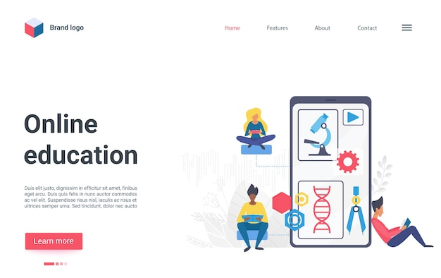 Online education technology flat landing page student or scientist with big smartphone
