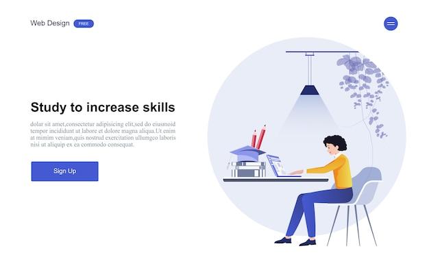 オンライン教育、トレーニング、コース、学習。