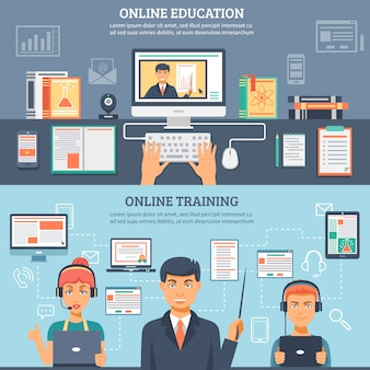 Online education training banner set