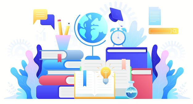 Online education, training courses, distance education and global education. internet studying, online book, tutorials, e-learning.   concept background