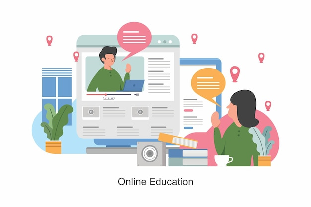 Online education training and courses learning vector illustration online teacher on computer