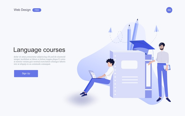 Online courses landing page Vector | Free Download