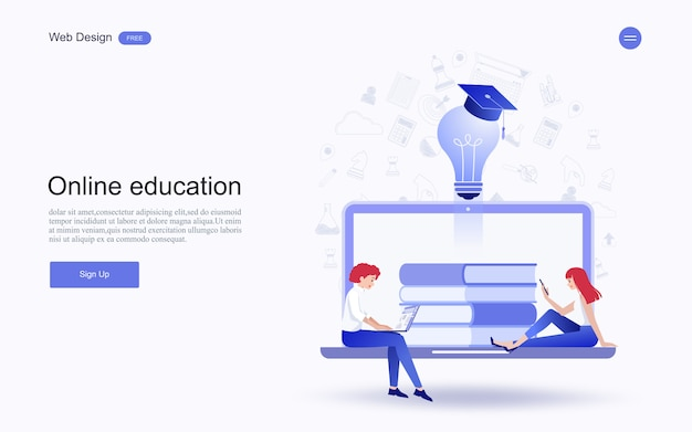 Online education, training and courses, learning.