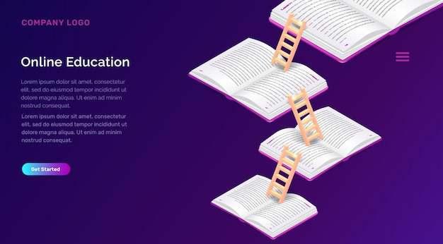 Online education or training isometric concept