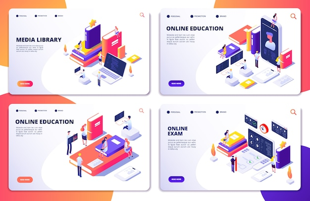 Online education, training, library, exam  landing page templates