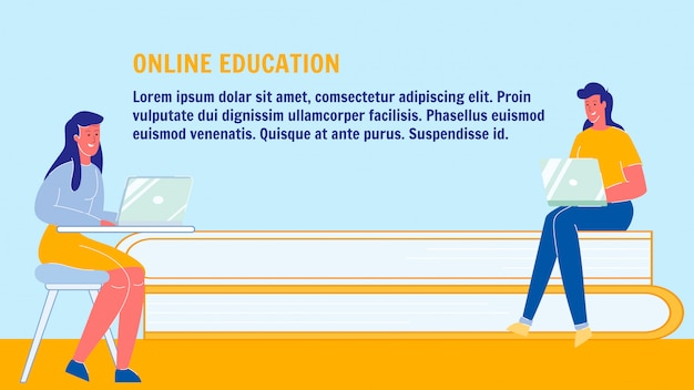 Online education, university vector banner layout