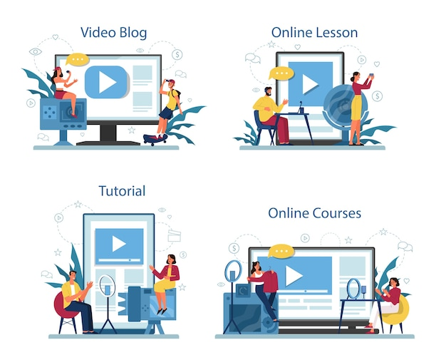 Online education and video blogging service or platform on differernt device concept set. video tutorial, online course and blog.