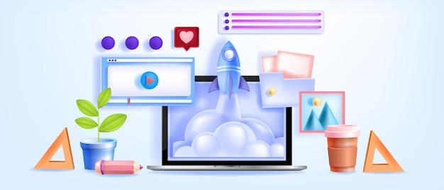 オンライン教育、ビデオ会議、学習ウェビナー、ノートパソコンの画面を使用したチュートリアル