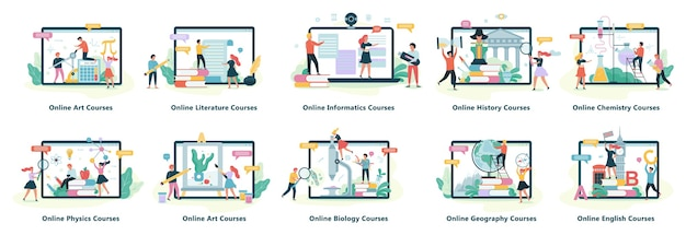 Online education web banner set. idea of distance learning and remote courses. study using computer. digital course.  illustration in cartoon style