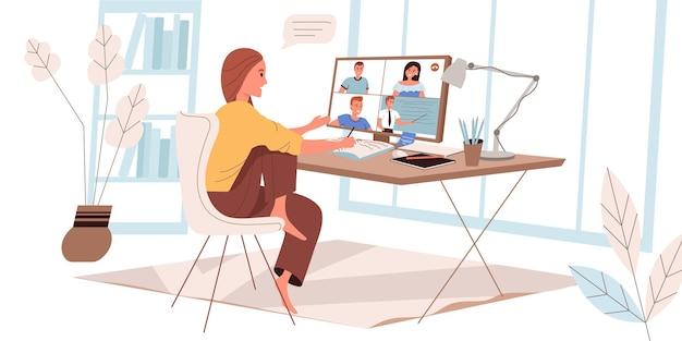 フラットスタイルのオンライン教育ウェブイラスト
