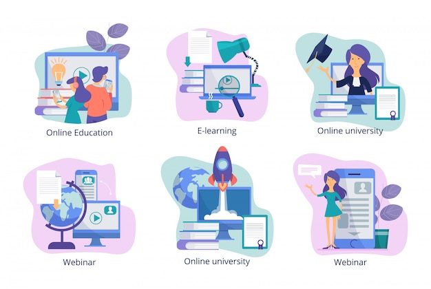 Online education. web study distance trainings tutorials webinars and courses for students from teachers  concept pictures