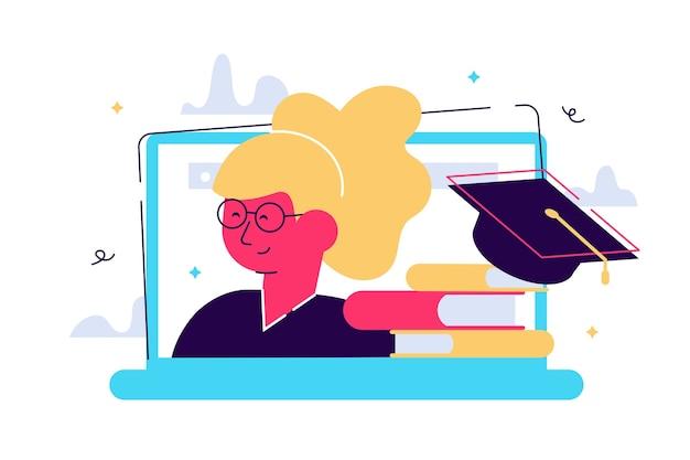 オンライン教育。ウェブセミナー。ノートパソコンの画面、本の山、卒業式の帽子。女性キャラクター