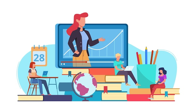 Online education. webinar and video seminar learning, online teacher on computer monitor, internet teaching and e-learning, tutorials for students, flat vector concept