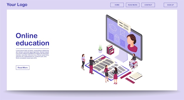 Online education webpage vector template with isometric illustration landing page