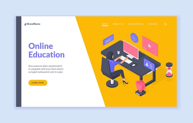 Шаблон баннера веб-сайта онлайн-образования