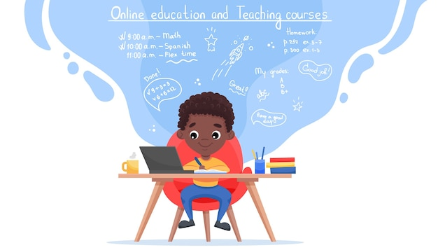 Шаблон веб-сайта онлайн-образования. концепция электронного обучения. афро-американский черный мальчик учится с ноутбуком.