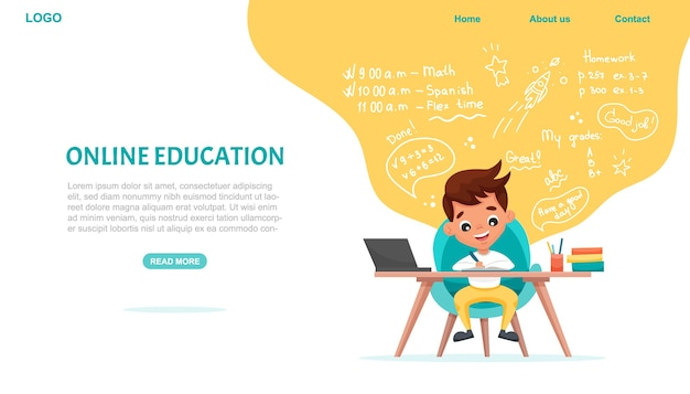 Шаблон веб-сайта онлайн-образования. баннер концепции электронного обучения. школьник учится онлайн с ноутбуком.