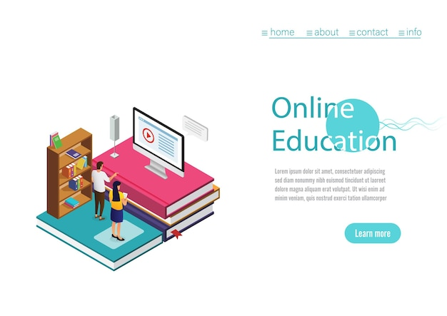 Online education website template with call to action and illustration