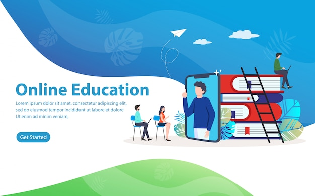 Online education, website vector illustration