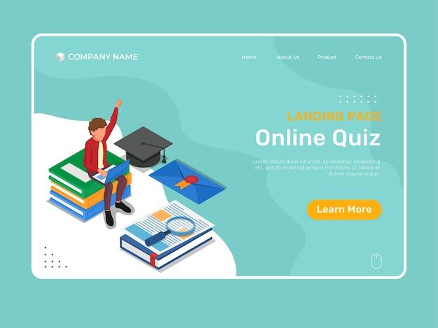 キャラクターによるオンライン教育は、ラップトップでオンラインクイズを行います。等尺性eラーニングランディングページイラストテンプレート。