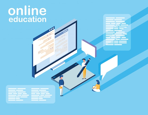 Online education with desktop and mini people
