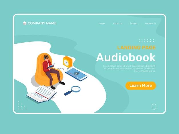 Онлайн-обучение с изометрическим характером слушания и чтения в кресле. шаблон иллюстрации изометрической целевой страницы.