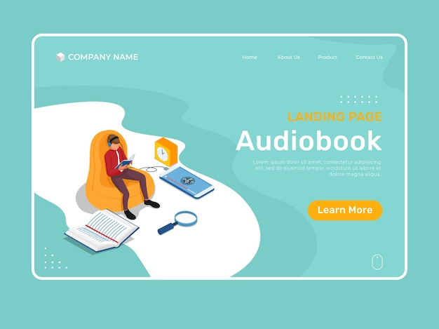 Online education with isometric character listening and reading in chair. isometric landing page illustration template.
