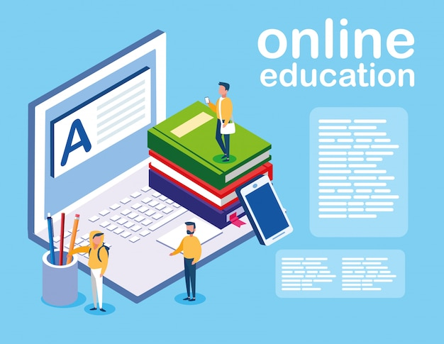 Online education with laptop and mini people