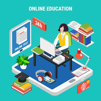 Online education with various electronic devices isometric concept 3d vector illustration