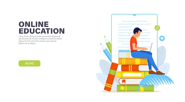 Online education. young man sitting with laptop on a stack of books and remotely studying online course.