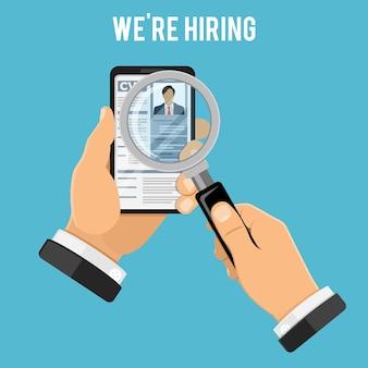 Online employment recruitment and hiring concept