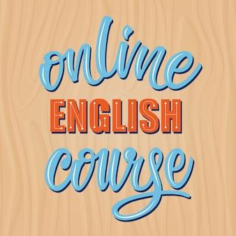 Online english course lettering banner design.