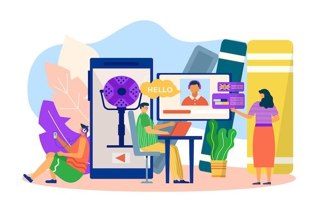 オンライン英語学習、ベクトルイラスト。男性女性の人々のキャラクターはインターネット教育のための技術を使用し、外国語を学ぶ