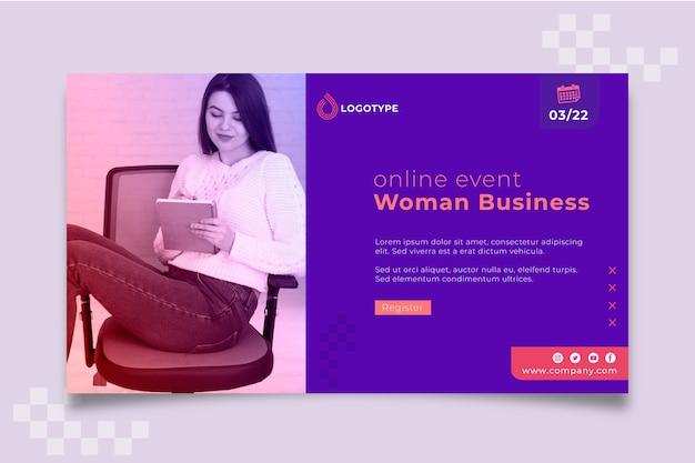 Modello di imprenditrice banner evento online