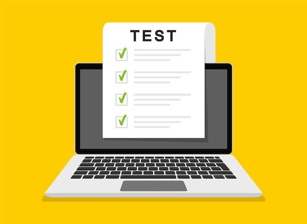 Онлайн-экзамен, контрольный список и онлайн-тестирование на экране ноутбука. форма онлайн-опросов на экране компьютера. плоский дизайн. иллюстрация.