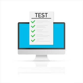 Онлайн экзамен, контрольный список и карандаш, принимая тест, выбирая ответ, анкету, концепцию образования. векторная иллюстрация