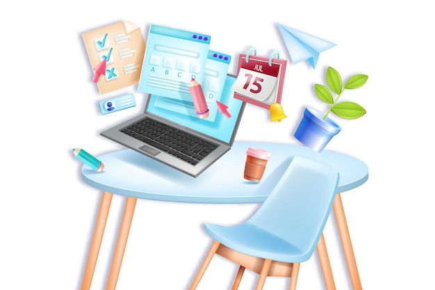 Online exam, education school, university remote home test, chair, table, laptop screen, calendar.