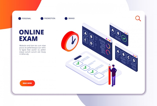 Online exam isometric concept. internet questionnaire, quiz application for student testing. survey examination landing page