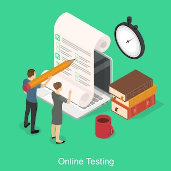 Online exam on a laptop. online time test in isometry. question-answer concept. people with a pencil and books and a stopwatch. vector illustration on green background. Premium Vector