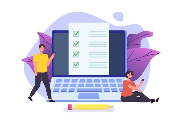 Онлайн-экзамен или тестирование, электронное обучение, интернет-викторина, концепция онлайн-образования.