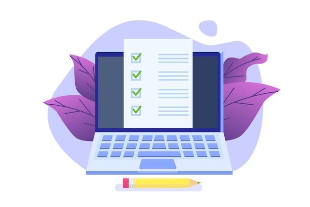 Online exam or testing, e-lerning,  internet quiz, online education concept.