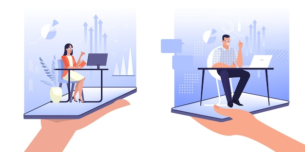 Online exepert concept. assistant sitting at the desk.