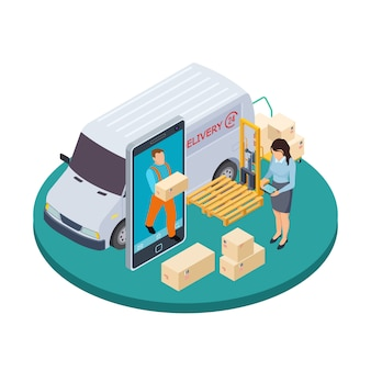 Online express delivery 3d isometric